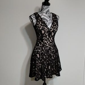 Three Hearts Black and Nude Lace Dress